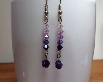 Mixed shade purple and pink swarovski crystal drop earrings