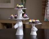 Eat Cake Pedestal Plate, Owl~Rabbit~Horse~Duck
