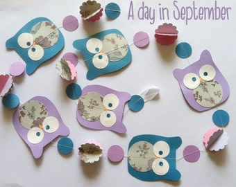 paper garland: A day in September with 6 owls and flowers 3d for kidroom