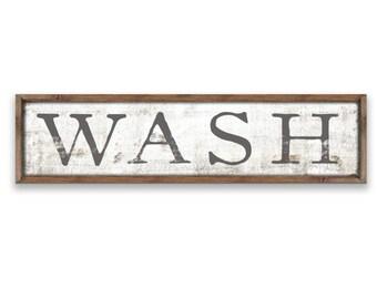 Wash Sign Bathroom Signs Kids Decor Restroom Childrens