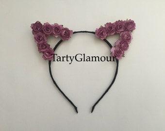 Purple Rose Cat Ears Headband, Floral Cat Ears, Flower Cat Ears, Flower Headband, Flower Crown, Flower Halo, Coachella, Festival, EDC