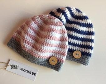 Crochet babyhat - crocheted babyhat - striped babyhat - babybeanie - boy - girl - winter