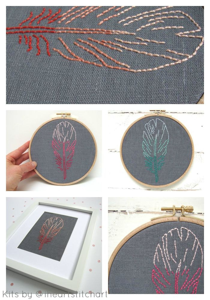 Beginner embroidery kit diy feather ombré