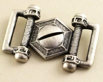 Steam Punk Buckle. Silver. 40mm x 28mm jr08897