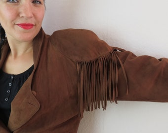 Leather jacket with fringe, Gr. 40, 80s, vintage
