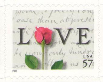 10 Unused 2001 Rose over Love Letter 57 Cent  Love - Postage Stamps Number 3551