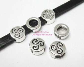 10pcs 5x2mm Round spiral sliders 5mm flat leather findings