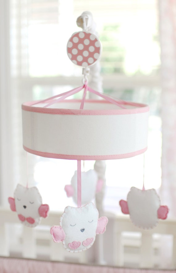 Pink owl musical crib baby girl mobile by newarrivalsinc for Baby mobile pink and grey