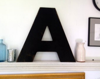 Individual Wood letters, 18 inch letters, San Serif font. shabby chic letter, antiqued letter, aged letter, black letter, wood cutout letter