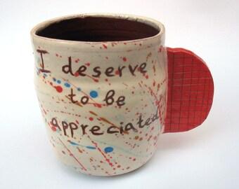 Handmade Ceramic Mug - 10 oz - Handmade Pottery - Coffee Cup - Tea Cup - Handmade - Hand Craft  - Unique Cup, Ceramic Mug, Original Mug