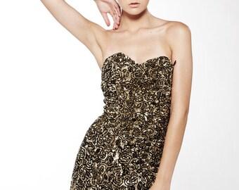 Liquorish Dress Gold Sequinned Ruffle Back