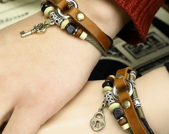 Couples Bracelets, His and Hers Leather Bracelets, Couples Jewelry, Lock and Key Braclet, CP-365