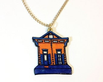New Orleans Shotgun House in Blue and Orange –  Mazant St. Necklace