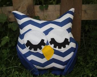 Blue chevron stuffed sleepy owl/pillow/plushie/nursery decor