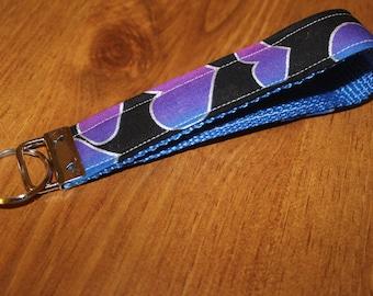 Blue heart fabric keychain/keyfob/wristlet