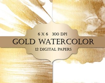 Gold Watercolor Digital Papers  - gold glitter watercolor metallic sparkle paint backgrounds for scrapbooking, wedding invitations, cards