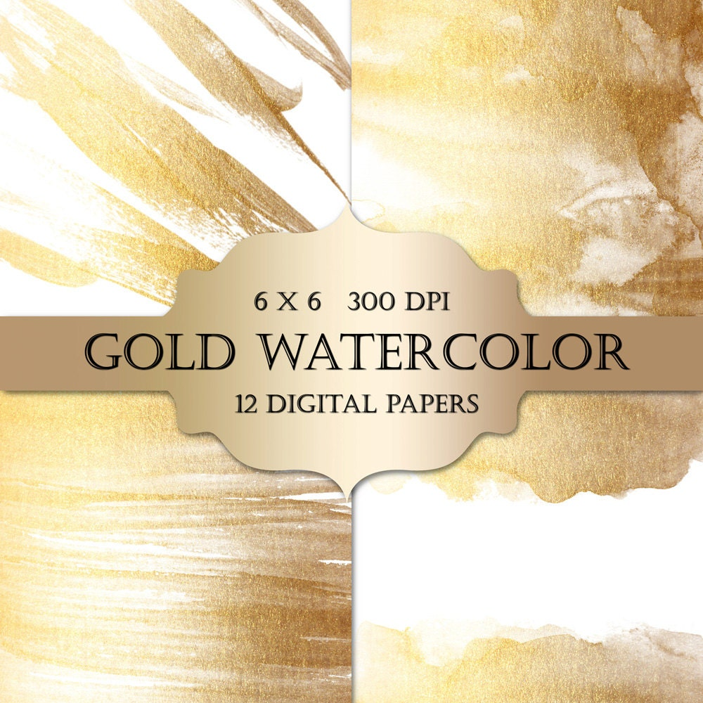 How to scrapbook wedding cards - Gold Watercolor Digital Papers Gold Glitter Watercolor Metallic Sparkle Paint Backgrounds For Scrapbooking Wedding Invitations Cards