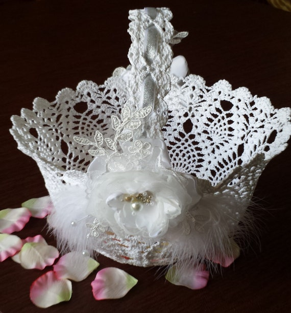 Flower Baskets Wedding : Flower girl basket white crochet wedding