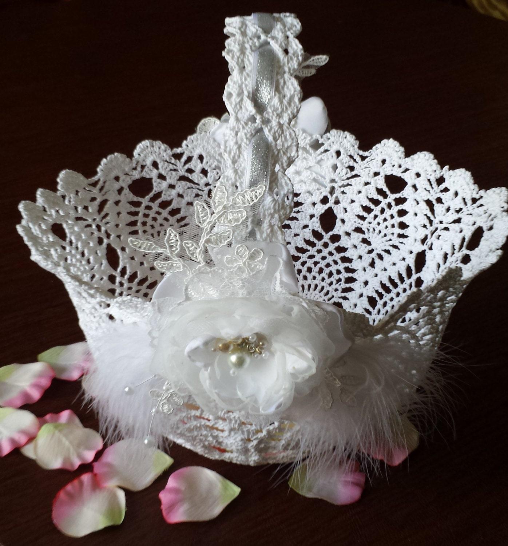 Flower Girl Baskets For Weddings: Flower Girl Basket White Crochet Basket Wedding Basket