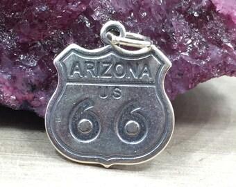 Arizona Charm, Arizona Pendant, Route 66 Charm, Arizona Route 66 Charm, Sterling Silver Arizona Charm, Historic Arizona Charm, PS06114