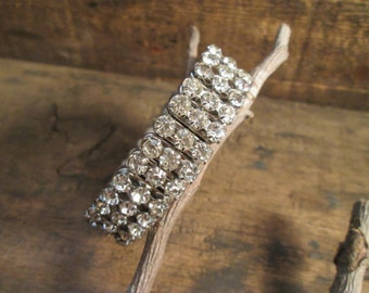 vintage silver tone made in japan metal stretch clear rhinestone bracelet