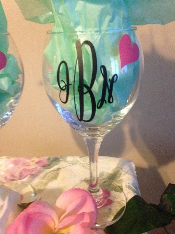 Monogram monogram wine glass vinyl lettering wedding gift for Where to buy vinyl letters for wine glasses