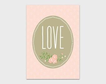 Love Print 5x7 Instant Download Nursery Decor Wedding Printable Floral Art Print Pink Nursery Art Print Love Decor Heart Printable Valentine
