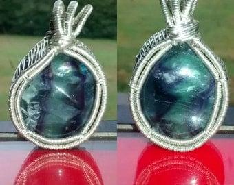 Sterling silver fluorite pendant