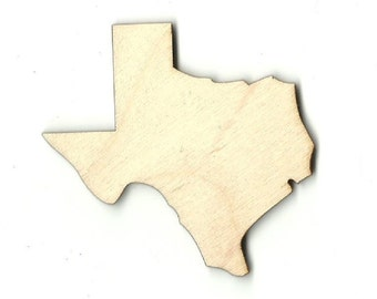 Texas - Laser Cut Out Unfinished Wood Shape Craft Supply