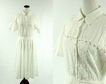 80s does 50s White Cotton Lace Dress