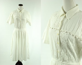 80s does 50s White Cotton Lace Dress