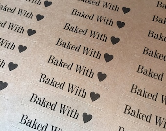 "80 BAKED WITH LOVE stickers- thank you labels on Kraft brown 1/2"" x 1 3/4 inch- wedding labels, party favors stickers"