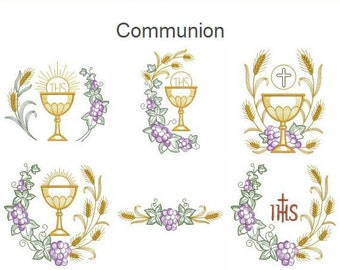 Communion Machine Embroidery Designs Instant Download 4x4 5x5 6x6 hoop 11 designs SHE5096