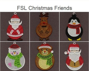 FSL Christmas Friends - Free Standing Lace Machine Embroidery Designs Instant Download 4x4 hoop 10 designs SHE1645