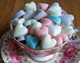 100 Heart Shaped Sugar Cubes in Mixed colours
