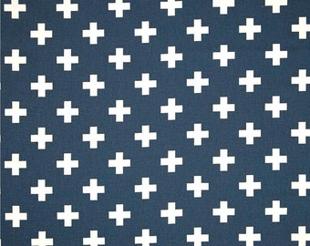 Swiss Cross Contemporary Navy Blue Cotton Fabric by the Yard Designer Neutral Home Decor Fabric Drapery or Upholstery Fabric Navy Blue B173