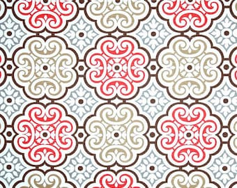 Coral Grey & Brown Mosaic Fabric by the Yard, Designer Home Decor Fabric, Coral Cotton Drapery Fabric or Upholstery Yardage, Coral R107