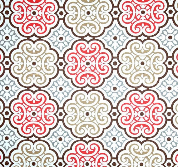Coral Grey Brown Mosaic Fabric By The Yard Designer Home Decor Fabric Coral Cotton Drapery Fabric Or Upholstery Yardage Coral R107 From Cottoncircle On