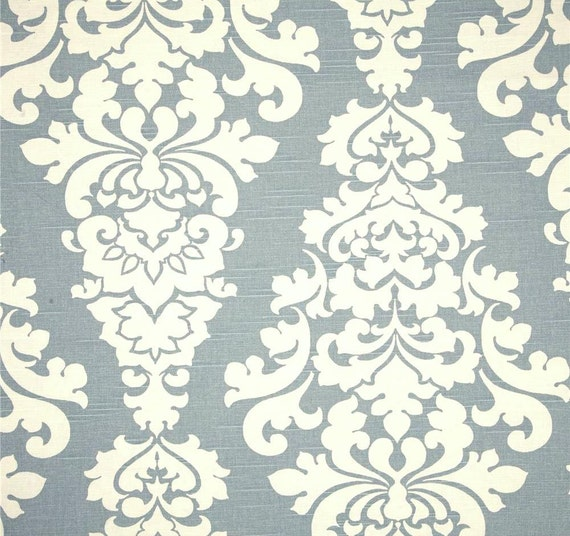 Designer Chambray Blue Neutral Decorating Fabric By Cottoncircle