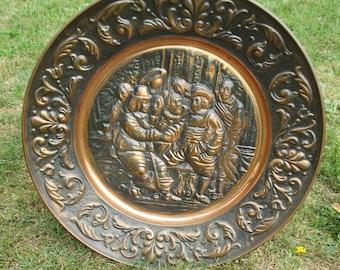 "Large Vintage Red Copper Wall Plate Decorative Breughel Scene handmade 23.23"""