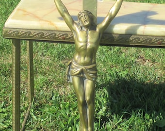 """Vintage Large Completely Brass Crucifix Cross Wall hanging Jesus Christ 24.41"""""""