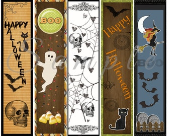 halloween bookmarks party favor printable custom digital 300 dpi jpg png fall decor - Halloween Book Marks