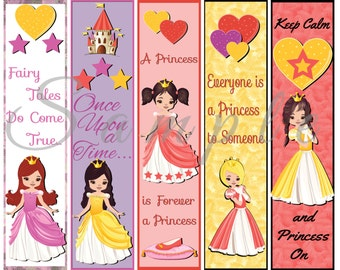Princess Party Favor Bookmarks Digital Printable Instant Download Birthday Reading Library Book Girl Pink Cartoon PNG 300dpi