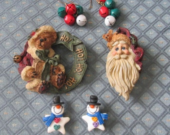 Christmas Jewelry Lot Santa, Boyds Bear, Snowmen, and Jingle Bells