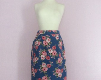Vintage 1950's floral high waisted pencil skirt