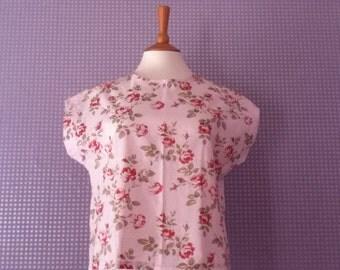 Vintage rose print cap sleeve t-shirt