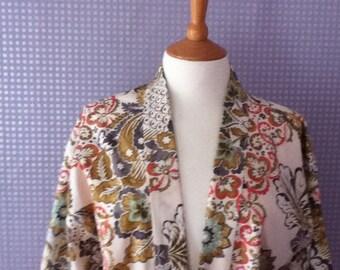 Vintage 1970's print 3/4 sleeve kimono