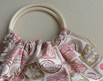 Vintage pink & cream handled bag