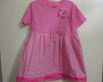 Girl's Pink and Chevron print Tutti Frutti Dress, School, Birthdays, Pictures, Size 4T/5T by Mvious Da'Zigns