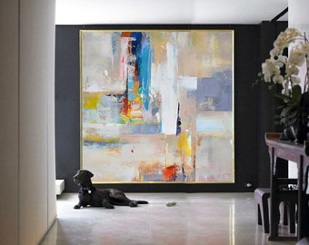 Handmade Large Contemporary Art Canvas Painting, Original Art Acrylic Painting, Abstract Canvas Art. Yellow, Red, Blue, White, Gray.